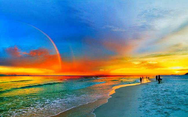 Rainbow-Sunset-Florida-Beach-Seascape-Orange-Blue_art